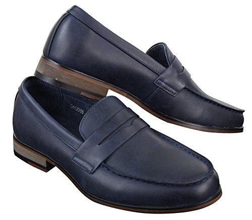 Mocassins homme Nubuck PU style vintage rétro classique noir marron bleu marine Bleu Marine