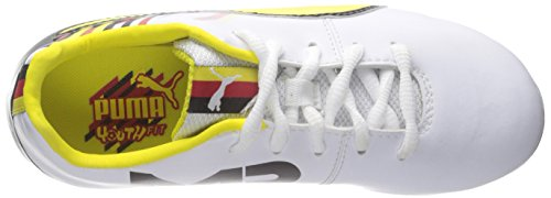 Puma Reus V2 FG Jr Sneaker (Little Kid/Big Kid) White/Blazing Yellow