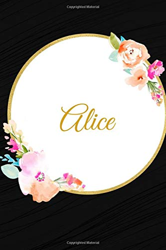 Alice: Customized Name Lined Journal Notebook Diary to Write In, Ruled Composition Planner, For Home Work Stationery, Great Gift for Girls Women, ... 6