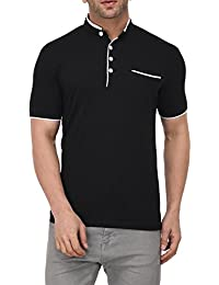 Vivid Bharti Collar Half Sleeve Black Solid T-Shirts