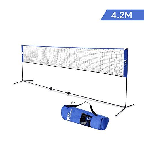 Amzdeal 4.2×0.7 m Badmintonnetz Einstellbare Höhe 80-150 cm Faltbare Tennisnetz Geeignet für Indoor-und Outdoor-Unterhaltung(Blau)