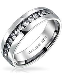 Bling Jewelry Anillo de Eternidad Piedra Natal Abril Cristales Color Claro Acero Inoxidable