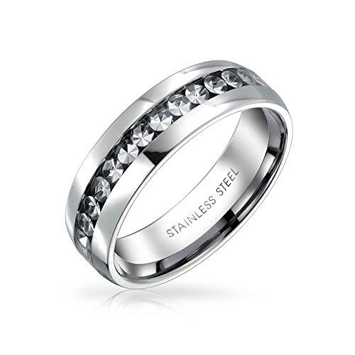 eiß April Monat Farbe Kanal EIN Kristall Der Ewigkeit Band Ring Für Damen Silber Getönt Aus Rostfreiem Stahl ()