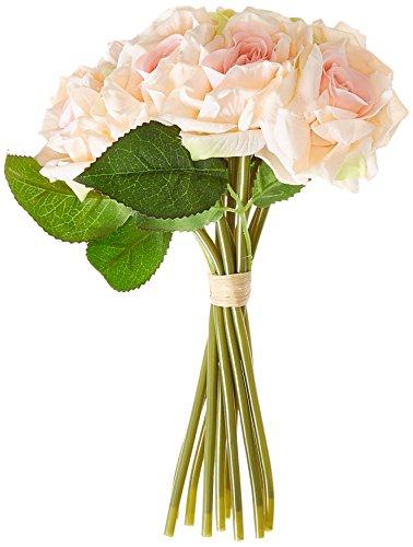 Fourwalls Artificial Rose Bouquet (26 cm, Light Pink, 10 Flower Stems)
