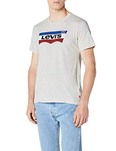Levi's Batwing Number 3 Camiseta, Gris (Bisque Heather 0011), Large para Hombre