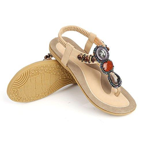 Sandales bohémienne Femme pour plage voyage abricot