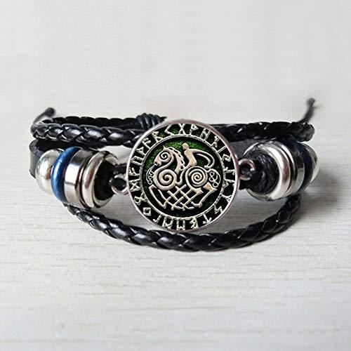 Armbänder Für Herren Slenenir In Runen Kreis Ist Bekannt Als Odins 8 Bein Pferd Pferd Leder Armband Glas Cabochon Männer Und Frauen Armband Schmuck (Pferd Beine Kostüm)