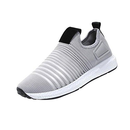 Mode Mesh Sneaker Herren, DoraMe Männer Frühling Beiläufige Reiseschuhe Atmungsaktive Wohnungen Sportschuhe Streifen Slip-On Schuhe (EU:43/CN:44, Grau)