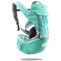 SONARIN 3 en 1 Multifuncional Hipseat Baby Carrier, Portador de bebé,Anverso y Reverso,100% Algodón,Ergonómica, Tamaño Libre,100% GARANTIZADO y ENTREGA GRATUITA, Ideal Regalo(Verde)