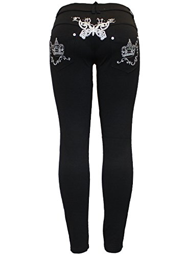 New Ladies Black Stretchy Butterfly Crown Plus Size Skinny Jegging Jean Legging
