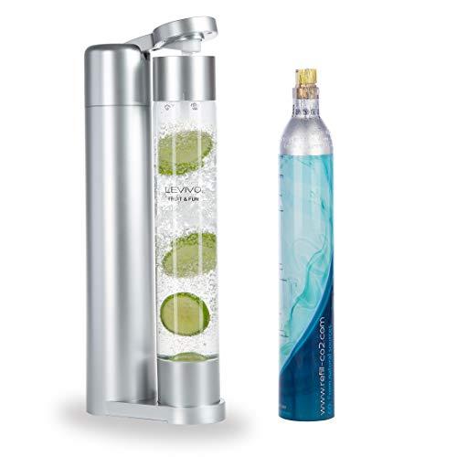 Levivo Wassersprudler Fruit & Fun Sprudler Slim (mit 1-Liter-Sprudlerflasche und CO2-Kohlensäure-Kartusche, Kohlensäure für Wasser, Cocktails und andere Getränke) Farbe silber
