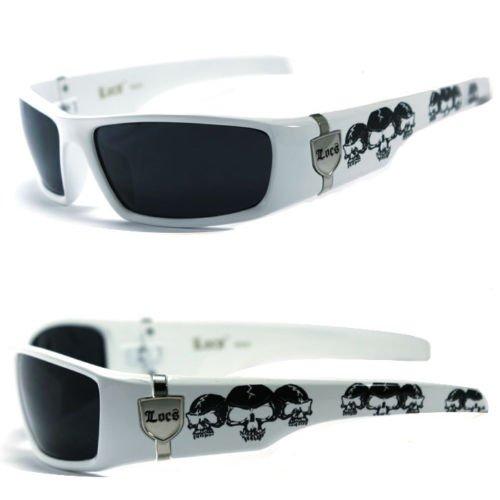 Locs Dunkle Objektiv Gangster Og Sonnenbrillen Biker Schädel-Muster auf den Armen (Schwarz, Weiß Frame/Schwarz Lens) 1 White Frame/Schwarz-Linse Einheitsgröße Schwarz