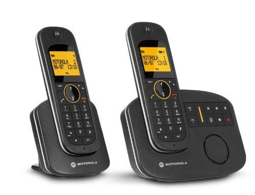 Lenovo D1012 Schnurlostelefon mit digitalem AB (60 Min) und zweitem Mobilteil (Twin-Set) schwarz