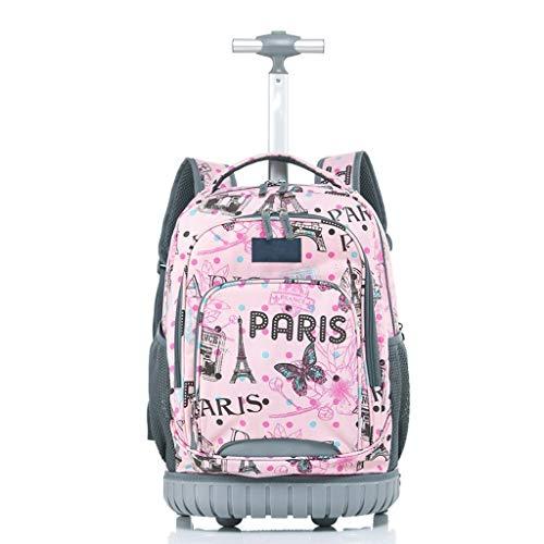 YEXIN Grundschule Rolling Backpack Vorschule Trolley Book Bag Rädern Studenten Daily Bagpack für Mädchen Jungen (Farbe : D) (Schmetterling Rucksack Rolling)