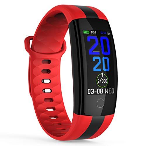 HHJEKLL Pulsera Inteligente Pulsera Inteligente Correa Impermeable Movimiento de Ritmo cardíaco Reloj Deportivo Rastreador de Ejercicios Reloj de Salud Banda Inteligente, Rojo