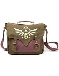 Zelda Tasche Canvas Messenger Bag Logo Front Umhängetasche Nintendo Kuriertasche Flight Bag with golden triforce logo Schultertasche