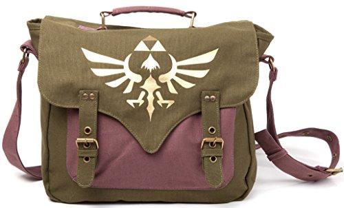 Preisvergleich Produktbild Zelda Tasche Canvas Messenger Bag Logo Front Umhängetasche Nintendo Kuriertasche Flight Bag with golden triforce logo Schultertasche
