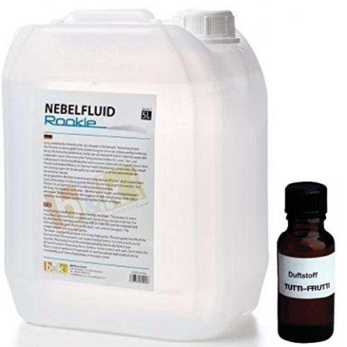 5 Liter DJPower Nebelfluid ROOKIE + 30 ml Duftstoff Tropic-Tutti-Frutti, Smoke-Fluid, Nebel-Fluid-Flüssigkeit für Nebelmaschine (Flüssigkeit Für Nebelmaschine)