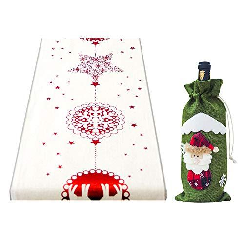 GEMSeven Weihnachtsmann Weinflasche Cover Halter + Weihnachten Tischdecke Flagge Elch Tischläufer Abdeckung Weihnachtsdekor