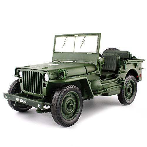 Modello di auto in lega diecast 1:18 willys jeep tattiche militari camion apertura pannelli del cofano per rivelare il regalo di decorazione del motore (colore: verde)