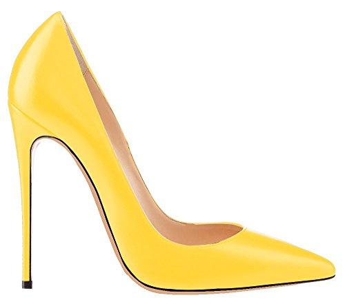 uBeauty - Escarpins Femmes - Chaussures Stilettos - Talon Aiguille - Grande Taille - Chaussures Femme Talons Jaune