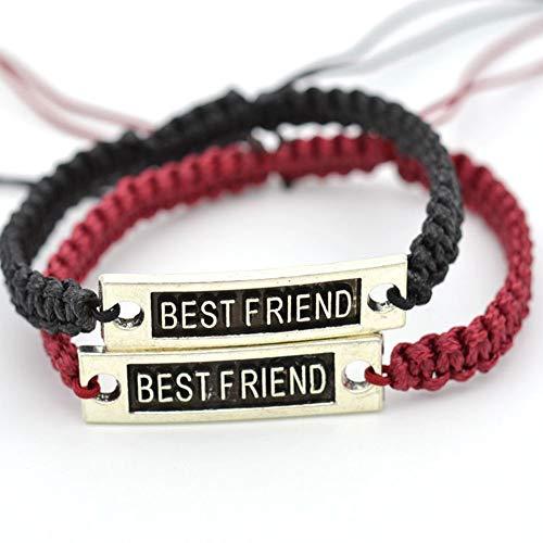 ,2 Pcs Bester Freund Armband Männer Frauen Handwerk Eine Größe Drucken Armband DIY Einfache Armband Für Männer Jungen Frauen Mädchen Geschenk Schwarz Und Weinrot ()