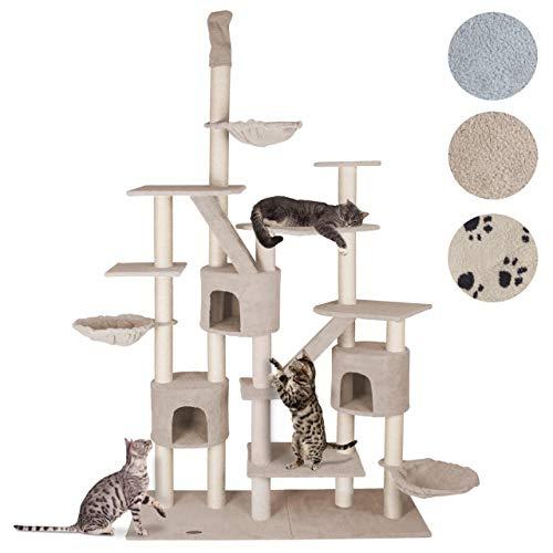 happypet® Kratzbaum für Katzen deckenhoch höhenverstellbar 225 - 255 cm hoch, CAT013, großer Kletterbaum Katzenbaum für mehrere Katzen geeignet, stabile Säulen mit Sisal ca. 8,5 cm Durchmesser,Häuser, Liegemulden, Treppen, Aussichtsplattformen, BEIGE