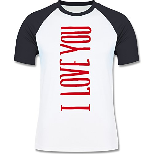 Valentinstag - I Love you vertikal - zweifarbiges Baseballshirt für Männer Weiß/Navy Blau