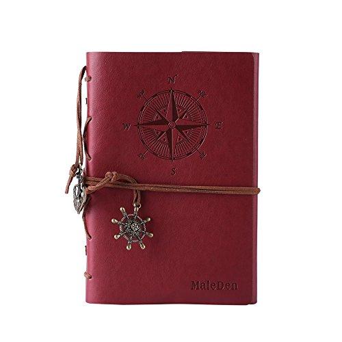 Preisvergleich Produktbild Maleden Vintage-Notizbuch, nachfüllbar ,hochwertiges PU-Leder, klassisches geprägtes Reisetagebuch mit Blanko-Seiten und Retro-Anhänger weinrot