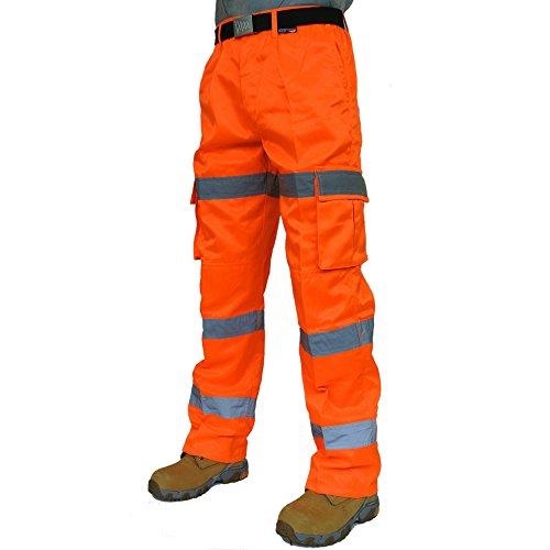 3 Band Hi Viz Combat Safety Cargo Knee Pocket Trousers