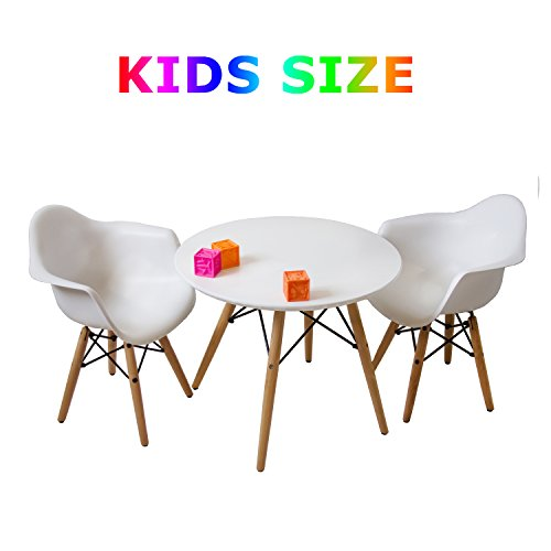 Buschman Kindermöbel | Tisch & Stuhl Set für Kinder | 2 Stühle aus Kunststoff mit Armlehne und 1 runder MDF Tisch | Modernes Design, geschwungene Sitze, Holzbeine, Basis aus Stahl, Farbe Weiß -
