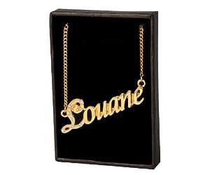 """Nom Colliers """"LOUANE"""" – Collier personnalisé Plaqué or 18 carats, un cadeau pour Noël, la St Valentin ou la Fête des Mères, vendu avec sac et boitier cadeaux."""
