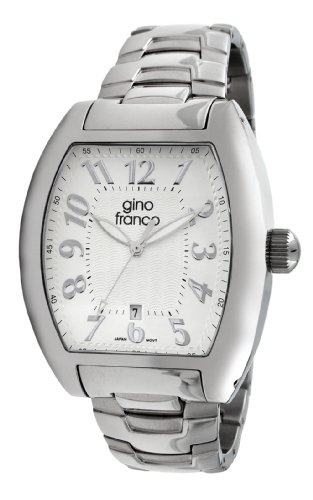 gino franco Men's 9643SL Barrel Shaped Stainless Steel Bracelet Watch