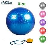 FitWell Gym Ball 75 cm Heavy Duty with Foot Pump Anti Burst Yoga