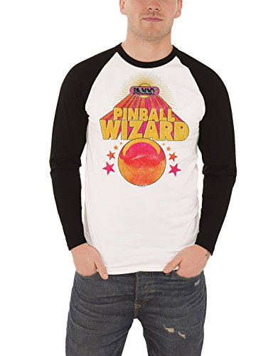 The Who Baseball T Shirt Pinball Wizard Logo offiziell Herren Nue Weiß Long (Herr Wizard Dvd)