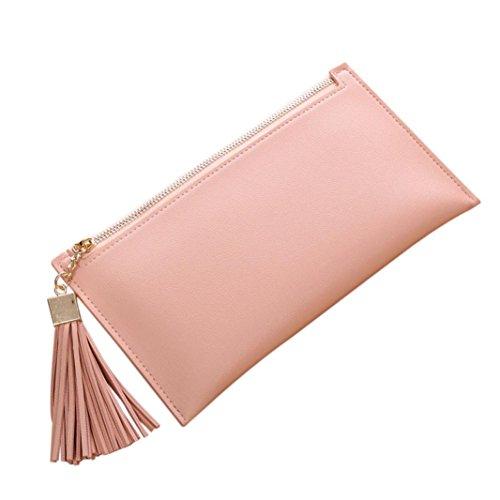 Fuibo Frauen lange Mappen hängende Münzen Geldbeutel Karten Halter Handtasche Reißverschluss Troddel (Pink) (Karten-halter-münzen-geldbeutel-beutel)