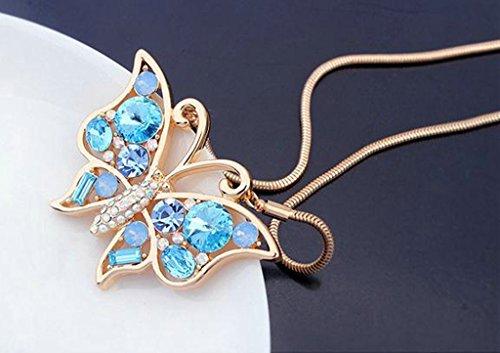 Anazoz Sautoir Or Collier Long Pendentif Papillon Cristal Autrichien Bleu