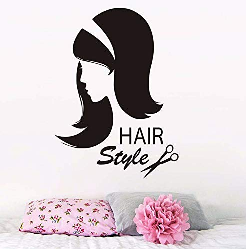 Dalxsh Friseur Wandaufkleber Vinyl Schere Sex Mädchen Haarschnitt Wandtattoo Innen Friseur Abnehmbare Frisur Schönheitssalon43X59 Cm