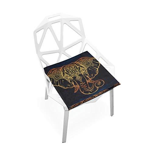 Silla alta pequeña estera tribal elefante étnico loto azul oscuro suave antideslizante almohadillas de espuma de memoria cojines del asiento para el hogar cocina escritorio de oficina 16x16 pulgadas