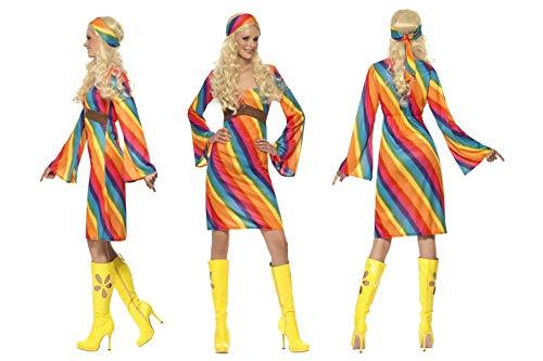 Fancy Dress World–Costume da Hippy Woodstock Arcobaleno Vestito e Fascia da Donna Adulto 70–Disco Fever Retro Festival Party Capodanno -