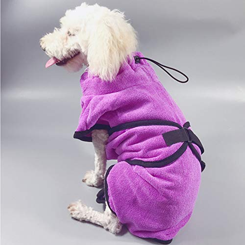 XDYFF Schnelltrocknend Hunde-Bademantel Saugfähiger, Schnell Trocknender Mantel Luxuriöse Mikrofaser,Pink,XL -