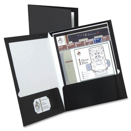 High Gloss Laminated Paperboard Folder 100Sheet Capacity Black 25/Box by Esselte Black High Gloss Oxford