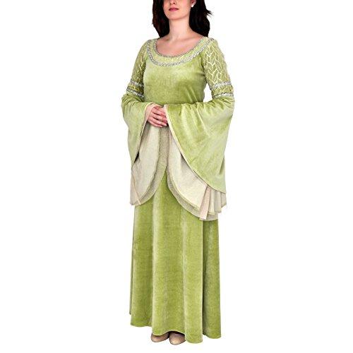 Elben Hochzeitskleid Fest Gewand Arwen Style Samt mit Spitze und Silberborte hellgrün - (Prinzessin Arwen Kostüm)
