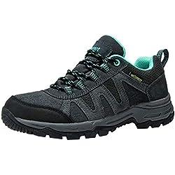 Zapatillas Trekking para Mujer Zapatos de Senderismo Calzado de Montaña Escalada Aire Libre Impermeable Ligero Antideslizantes Zapatillas de Trail Running Gris/Verde 38 EU