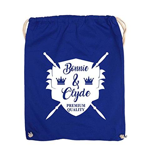 Comedy Bags - Bonnie & Clyde RITTER - MOTIV - Turnbeutel - 37x46cm - Farbe: Schwarz / Silber Royalblau / Weiss