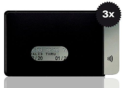 OPTEXX RFID Schutzhüllen 3x Fred Schwarz für Kreditkarte  EC-Karte  RFID Blocker  Personal-Ausweis Hülle  Kartenhülle hartplastik  Blocking von Funk Chips