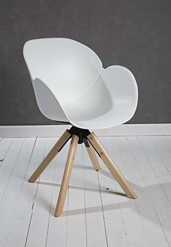 8er Set Designer Esszimmerstuhl Kunststoff weiß drehbar mit Armlehnen und Rückenlehne Retrodesign mit Holzbeinen Esszimmerstühle Stühle Küchenstühle