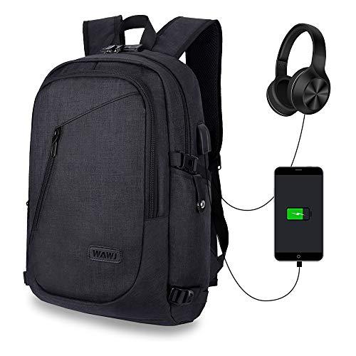 WAWJ Diebstahlsicherer wasserdichter Rucksack, Mehrzweck-Tagesrucksack-Laptop-Rucksack mit USB-Ladeanschluss (schwarz)