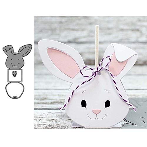 Ruby569y Scrapbooking Prägeschablonen Stanzformen Schablonen, Rabbit Box Metal Cutting Dies DIY Scrapbooking Emboss Paper Cards Punch Stencil Silver -