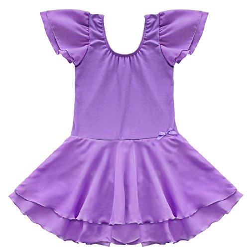 Tiaobug Kinder Mädchen Kurzarm Ballettkleid Ballettanzug Turnanzug mit Röckchen Lila 110-116